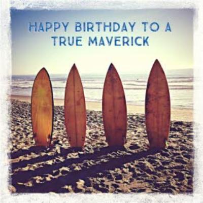 Happy Birthday Surfing Beach Card