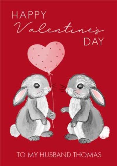 Okey Dokey Bunny Balloon Husband Valentine's Day Card