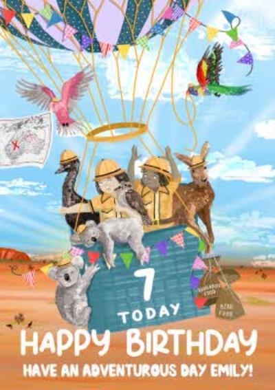 Okey Dokey Hot Air Balloon 7 Today Have An Adventurous Birthday Card