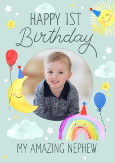 Okey Dokey Cute Illustration Photo Upload Amazing Nephew 1st Birthday Card