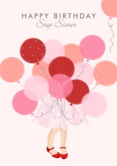 Okey Dokey Cute Character Illustration Step sister Birthday Card