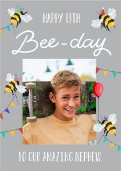 Bees Hanging Bunting Text Editable Photo Upload Nephew Birthday Card