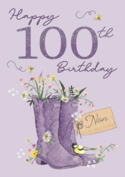 Okey Dokey Illustrated Wellington Boots Flowers Bumble Bees Nan 100th Birthday Card