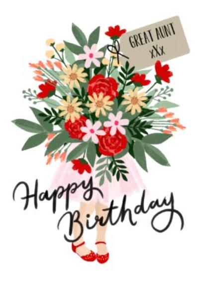 Okey Dokey Illustrated Niece Holding Large Bouquet Of Flowers Great Aunt Birthday Card