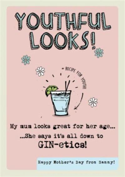 Mum Says It's Down To Gin-Etics Funny Mother's Day Card