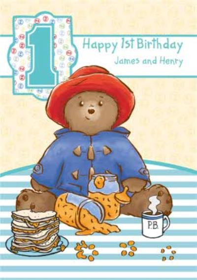 Little Paddington Bear Personalised Happy 1st Birthday Card