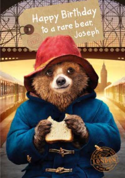 Paddington Bear Marmalade Sandwich Personalised Happy Birthday Card