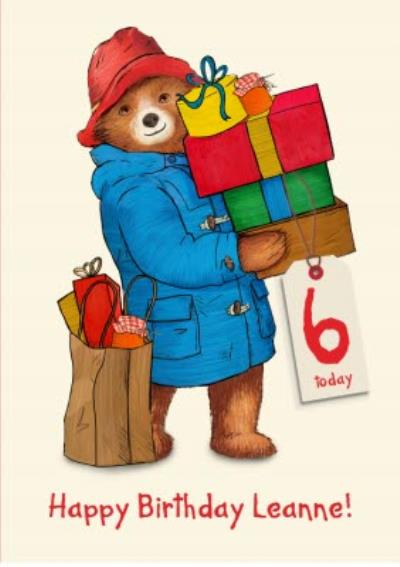 Paddington 6Th Birthday Personalisation Card