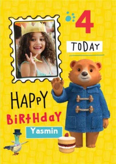 Paddington Bear 4 Today Photo Upload Birthday Card