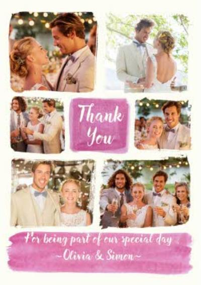 Wedding Thank You Postcard. Thank you for being part of our special day ~Olivia & Simon~ photo uploa