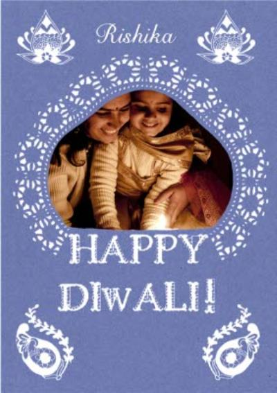 Purple And White Patterned Personalised Photo Upload Happy Diwali Card