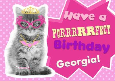 Funky Kitty Personalised Happy Birthday Card