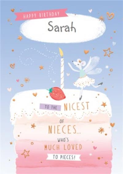 Cute Birthday Card - Niece - Nicest Of Nieces - Much Loved To Pieces - Ballerina Mouse on cake