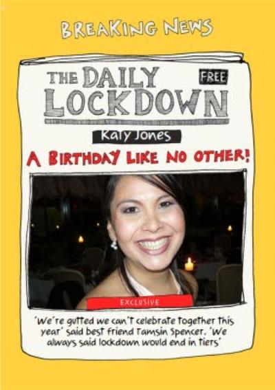 Funny The Daily Lockdown Breaking News Covid Photo Upload Birthday Card