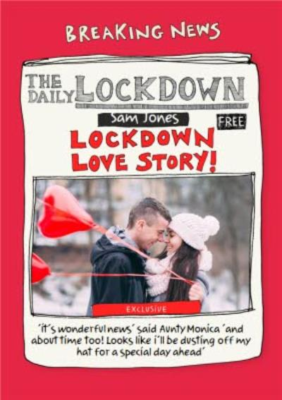 Funny The Daily Lockdown Love Breaking News Covid Photo Upload Engagement Card
