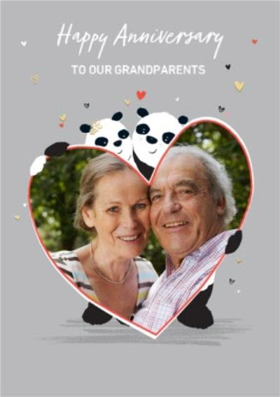 Personalised Illustration Panda Bear Anniversary photo upload Card for our Grandparents