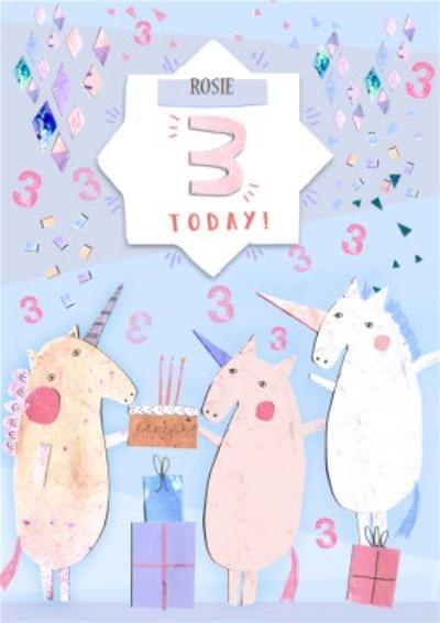 Unicorn Party Happy 3rd Birthday Card