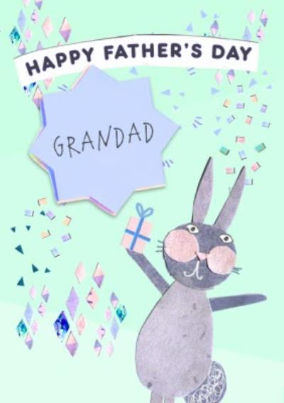 Excited Bunny Happy Fathers Day Grandad Card