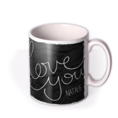 Handwritten Love You Photo Upload Mug