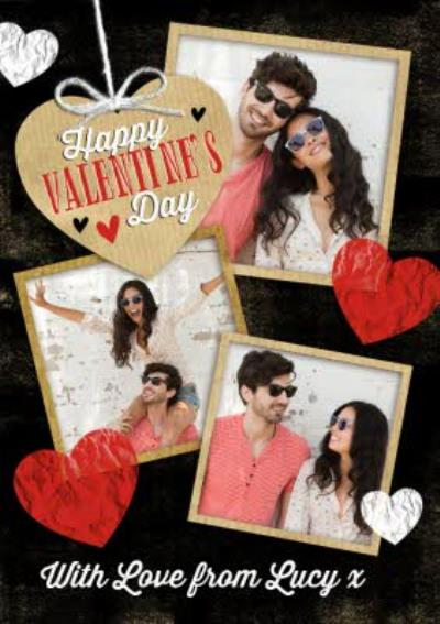 Photo Valentine's Day Card - Personalised Black Valentines Card