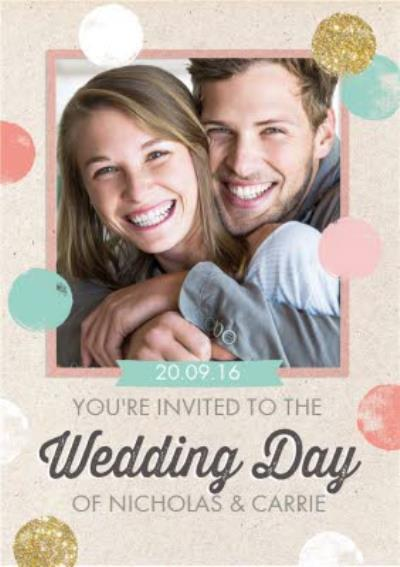 Pastel Spots And Glitter Dots Personalised Photo Upload Wedding Invite Card