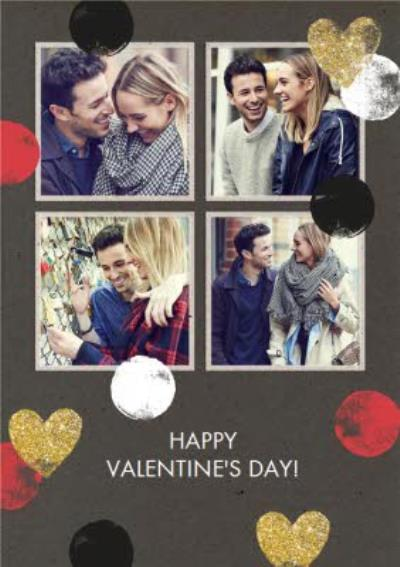 Hearts And Spots 4 Square Personalised Photo Upload Happy Valentine's Day Card