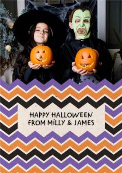 Chevron Design Happy Halloween Photo Card