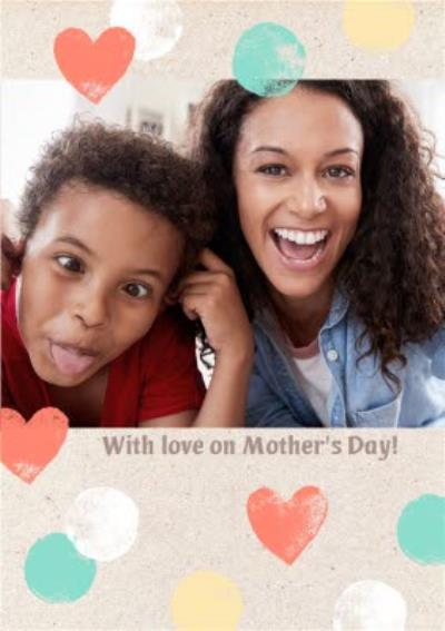 Pastel Hearts Personalised And Photo Mother's Day Card