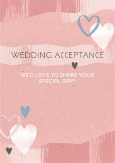 Wedding Aceptance Rose Pink Card
