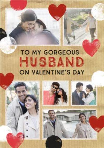 Stamped Hearts To My Gorgeous Husband Photo Valentine's Day Card
