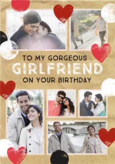 Stamped Hearts To My Gorgeous Girlfriend Photo upload Birthday Card