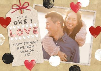Spots And Hearts To The One I Love Personalised Birthday Card