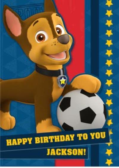 Kids Birthday card - Paw Patrol - Chase - Football