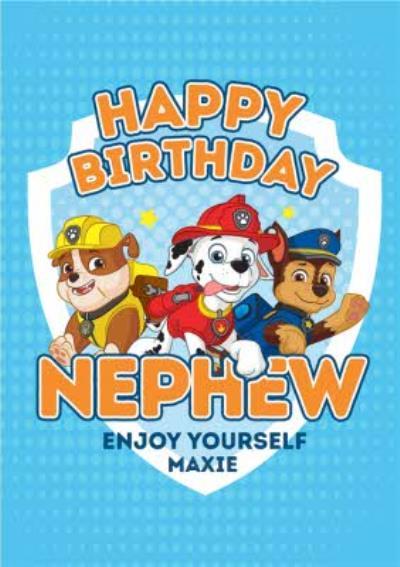 Paw Patrol Birthday Card for Nephew