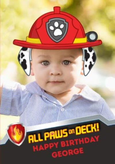 Paw Patrol Photo Upload Birthday Card All Paws on Deck!