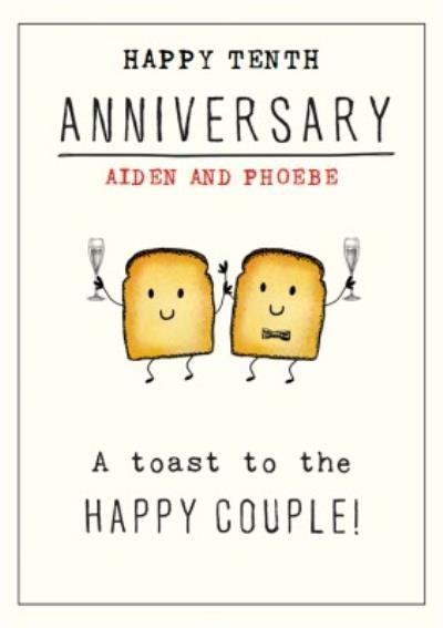 Cute Illustrative Champagne Toast Anniversary Pun Card