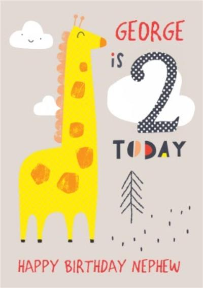 Happy Birthday Card - Giraffe - 2 Today
