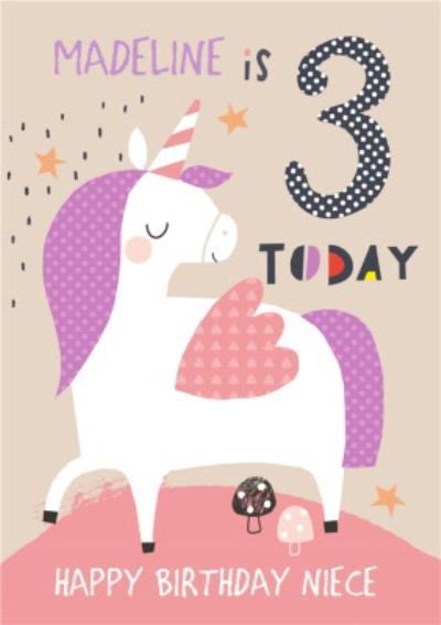 Happy Birthday Card - Unicorn - 3 Today
