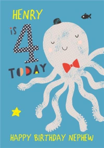 Happy Birthday Card - Octopus - 4 Today