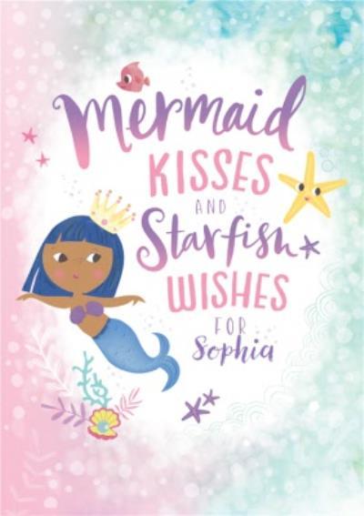 Kids Happy Birthday Card - Mermaid Kisses and Starfish