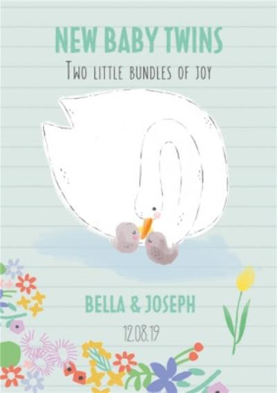 Cute Parent and Baby Swan Twins Two Little Bundles Of Joy New Baby Card