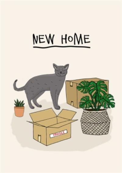 Cute Illustration New Home Card