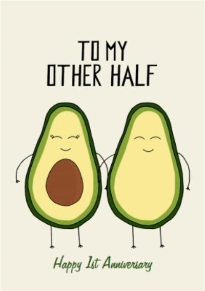 Two Half's Of An Avocado Characters Illustration Personalised Anniversary Card