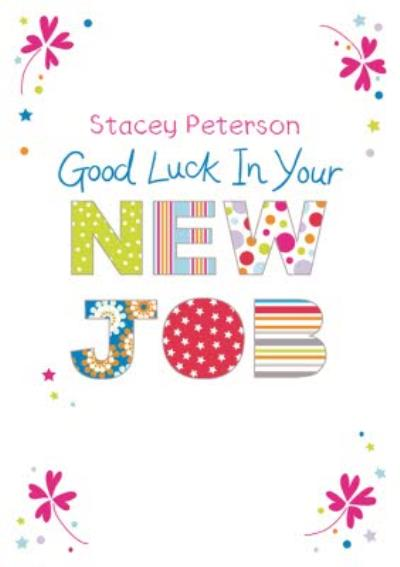 Pretty Corners Personalised Good Luck In Your New Job Card