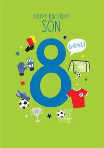 Happy Birthday Son Football Themed 8th Birthday Card