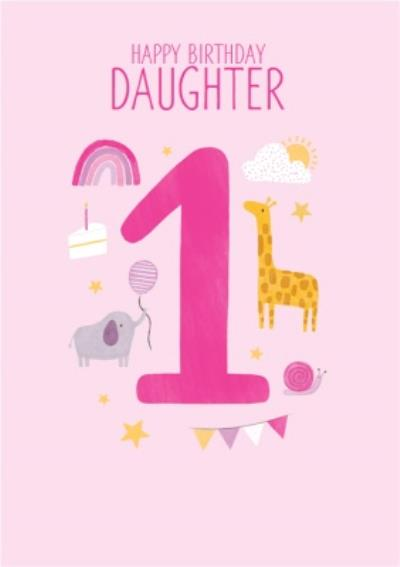 1st Daughter's Birthday Cute Icon Illustrations Card