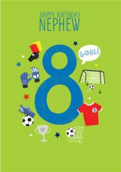 Nephew's 8th Birthday Football Illustrations Card