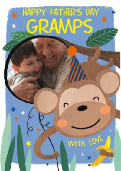 Cute Monkey Illustration Photo Upload Gramps Father's Day Card