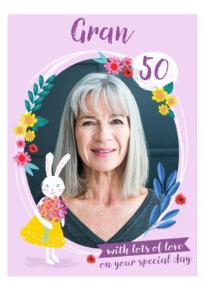 Illustrated Rabbit Floral Photo Upload Gran 50th Birthday Card