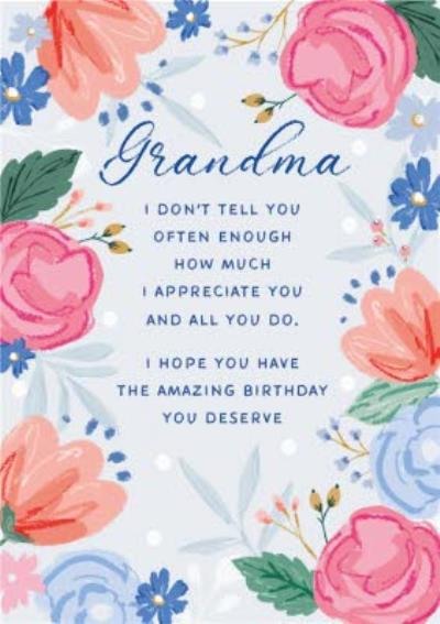 Grandma Appreciate You Birthday Card